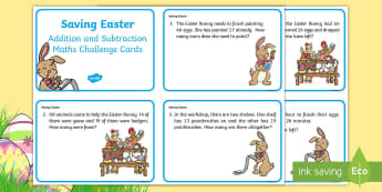 KS1 Saving Easter Addition and Subtraction Maths Challenge Cards - Children's Books, story, book, Easter, save, saving, Easter Bunny, bunny, bunnies, stories, chick,