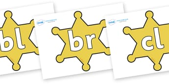 Initial Letter Blends on Sheriffs Badges - Initial Letters, initial letter, letter blend, letter blends, consonant, consonants, digraph, trigraph, literacy, alphabet, letters, foundation stage literacy