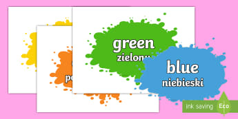 Colour Name Splats English/Polish - Colour Names On Splats - colour, colour names , black, white, red, green, blue, yellow, orange, colo