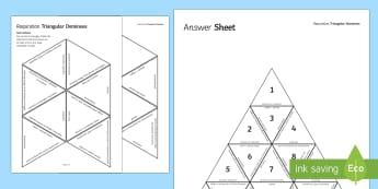 Respiration Triangular Dominoes - Tarsia, Dominoes, Respiration, Anaerobic, Aerobic, Glucose, Oxygen