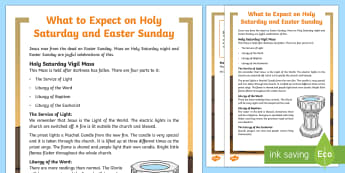 Catholic What to Expect on Holy Saturday and Easter Sunday Fact File  - NI, Easter, Holy Saturday, Easter Sunday, Mass, vigil, Paschal, candle, Catholic