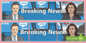 Breaking News Display Banner - display, banner, border, news, report, notice board, literacy, working wall