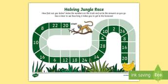 Halving Jungle Race Activity Sheet - maths, half, halving, half of a quantity, recall, rapid recall, mental maths, race, games,