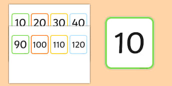 Multiples of 10 Flash Cards - multiples, counting, times table, count, multiplication, division, flash cards, 10