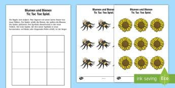 Blumen und Bienen Tic Tac Toe Spiel - Frühling, Jahreszeiten, Vorschule und Kindergarten, 1./2. Klasse, Tiere und Planzen, Spielidee, Spi