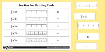 Fraction Bars Matching Cards