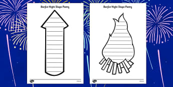 Bonfire Night Shape Poetry - Bonfire Night Shape Poetry, bonfire night, bonfire, shape poetry, poetry, poem, rhyme, creative, Guy Fawkes, bonfire, Houses of Parliament, plot, treason, fireworks, Catholic, Protestant, James I, November the 5th, 5th, N