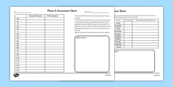 Phase 5 Phonics Letters and Sounds Assessment Sheets - phase 5, letters and sounds, DFE, phonics assessment, letters and sounds assessment, phase 5 anaylsis sheet