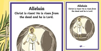 Christ is Risen, Alleluia Large Display Poster - ROI Lent/Easter 2017, Easter Sunday, Alleluia, Display Poster, Lent,Irish.