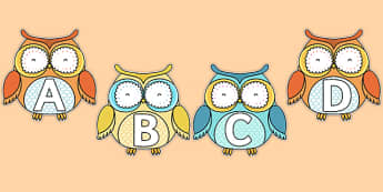 A-Z Alphabet on Superb Owls - a-z, alphabet, letters, superb owls, superb, owls, super bowl