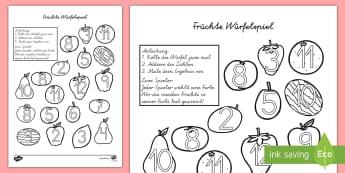 Früchte Würfelspiel: Addieren und Anmalen - Früchte Würfelspiel Addieren und Anmalen, Früchte, Frucht, Würfelspiel, Würfel, Addieren, Addit