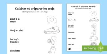 Fiche de vocabulaire : cuisiner les oeufs - poule, cycle 2, cycle 3, hen, chicken, Pâques, Easter, KS3, oeuf, coq, expressions françaises, voc
