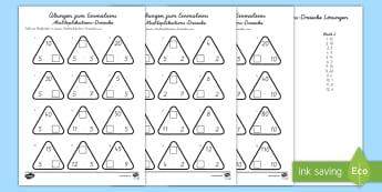 Übungen zum Einmaleins Multiplikations Dreiecke Arbeitsblatt - Übungen zum Einmaleins, Multiplikations-Dreiecke, Arbeitsblatt, Üben, Malnehmen, Zahlen, Mathe, Dr