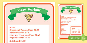 Pizza Parlour Role Play Menu