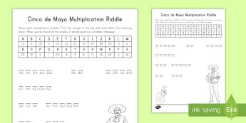 Cinco de Mayo Multiplication Riddle Activity Sheet - Cinco de Mayo, riddle, holiday, Mexican holiday, Mexico, Multiplication, worksheet, multiply