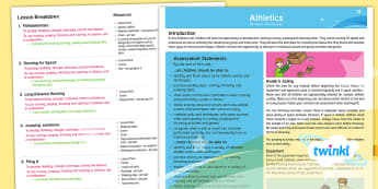 PlanIt - PE Year 5 - Athletics Planning Overview - PE, PlanIt, Y5, Athletics, assessment, running, throwing, jumping, health and safety, equipment