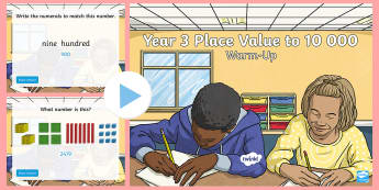Year 3 Place Value Warm-Up PowerPoint - Australian Curriculum Number and Algebra, place value, number, numbers, year 3, thousands, number li
