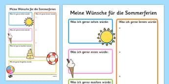 Summer Holiday Hopes Write-Up Worksheet German - german, seasons, writing sheet