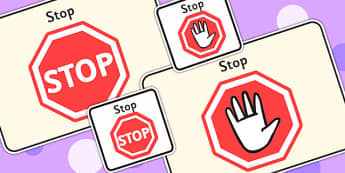 Stop Visual Support Cards - learning support, visual aids, SEN