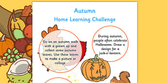 EYFS Autumn Home Learning Challenge Sheet Nursery FS1 - homework, term 1, early years, activity, games, worksheet,