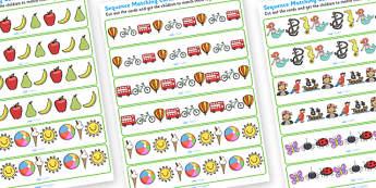 Sequence Matching Cards 3 Items - sequences, sequence matching cards, sequence matching strips, sequence matching game, pattern matching game, patterns