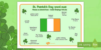St. Patrick's Day Word Mat Polish Translation - polish, St Patricks Day, word mat, writing aid, Ireland, Irish, St Patrick, patron saint, leprechaun, 17 march