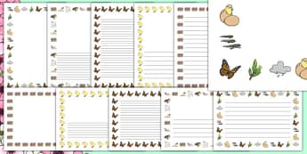 Spring Page Borders (A4) - Spring, flowers, blossom, page border, border, writing template, writing aid, writing, seasons, sun