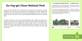 Ku-ring-gai Chase National Park Information Report Writing Sample - Literacy, Ku ring gai Chase National Park Information Report  Writing Sample, writing sample, writin