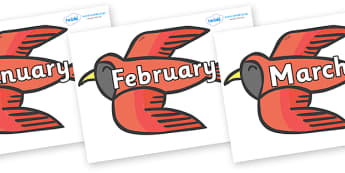 Months of the Year on Red Bird to Support Teaching on Brown Bear, Brown Bear - Months of the Year, Months poster, Months display, display, poster, frieze, Months, month, January, February, March, April, May, June, July, August, September