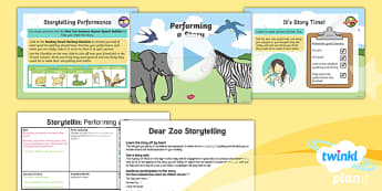 PlanIt Y1 Animals: to Support Teaching on Dear Zoo Lesson Pack Storytelling (2) - Dear Zoo, animals, stories, repeating parts, oral, performance, audience, retell