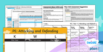 PlanIt - PE Year 1 - Attacking and Defending Unit Assessment Pack - Attacking and Defending, pe, lessons, planning, plans, ks1, y1, year 1, assess, spreadsheet, kwl gri