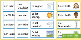 Weather Flashcards German - Weather,vocabulary cards, flash cards, Wetter, German