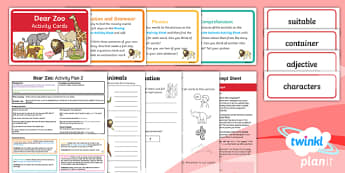 Y1 Dear Zoo: Activity Plan 2 PlanIt Guided Reading Pack - Dear Zoo, animals, fiction, carousel, Year 1, guided reading, comprehension, prediction, reading ski