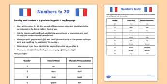 Numbers to 20 French Activity Sheet - french, numbers to 20, activity sheet, vocabulary, worksheet
