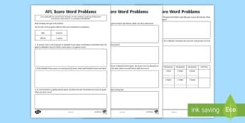 AFL Score Word Problems Activity Sheet - ACMNA076, mental multiplication, mental math, word problems, math problems, AFL, AFL maths, calculat