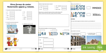 icha de actividad: Otras formas de contar - Números romanos y egipcios - números, matemáticas, números romanos, números egipcios, jeroglíficos, numeración.,Spanish
