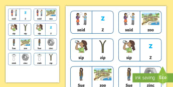 's' and 'z' Minimal Pair Dominoes - voiced, voiceless, s, z, fricatives, fronting, speech sounds, articulation, lateral s, minimal pairs
