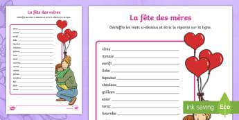 Feuille d'activité : Mots à déchiffrer - La fête des mères - fête des mères, mères, fête, maman, activité, mots à déchiffrer,  Mothers Day, Activity Sheet