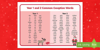 Christmas Themed Year 1 and 2 Common Exception Words Mat