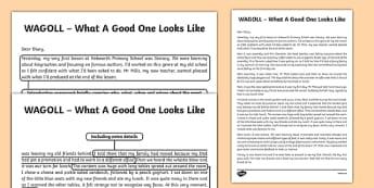 WAGOLL Recount Writing Sample
