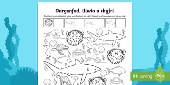 Taflen Weithgaredd Darganfod, Lliwio a Chyfri O Dan y Môr - Ar Lan y Môr,Seaside, Under the Sea, under the sea, sea, Sea, seaside, Under the sea, beach, Beach,