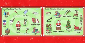 Santa's Workshop Word Mat - Christmas, xmas, Santas workshop, grotto, Word mat, writing aid, elf, elves, Santa, Father Christmas