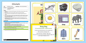 EYFS Initial Sounds Elf and Shoemaker 'e' and 'sh' Busy Bag Plan and Resource Pack - The Elves and the Shoemaker, traditional tales, Christmas, phase 2 phonics, letter sounds, elf,