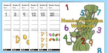 Jack And The Beanstalk Number Formation Workbook - workbooks