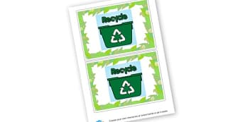 Recycle - display lettering - Eco, Recycling and Environment Display Primary Resources - Eco