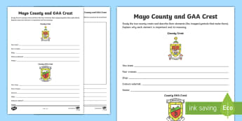 Mayo County and GAA Crest Activity Sheet - GAA Football All-Ireland Senior Championship, GAA Hurling All-Ireland Senior Championship, GAA crest