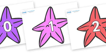 Numbers 0-31 on Starfish to Support Teaching on The Rainbow Fish - 0-31, foundation stage numeracy, Number recognition, Number flashcards, counting, number frieze, Display numbers, number posters