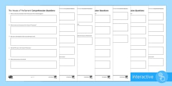 The Houses of Parliament Differentiated Comprehension Go Respond Activity Sheets - Event General Election Houses of Parliament, UK Parliament, UK Government, Palace of Westminster, Ho