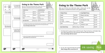 Going to the Theme Park: Money Problems Activity Sheets - KS2 Maths Working from home activity booklets, money problems, worksheets, addition, column addition