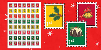 Christmas Role Play Stamps - Christmas, xmas, role play, Stamps, stamp, role play, buying, Postcards, Postcard, post office, shop, tree, advent, nativity, santa, father christmas, Jesus, tree, stocking, present, activity, cracker, angel, snowman, adv
